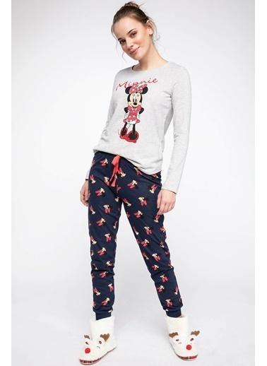 DeFacto Minnie Mouse Lisanslı Pijama Takımı Lacivert